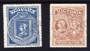 """Victoria Hospital charity fund pair 1/- Blue,2/6 Brown both with fine """"MEL"""" CDS'"""