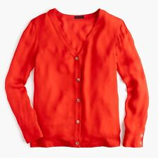 $178 New J Crew Collection 100% silk cardigan top / Size 2 / VIVID FLAME