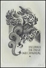 Jakubowski Wojciech 1998 Exlibris C2 Dragon Drache Smok Animals Pets 772