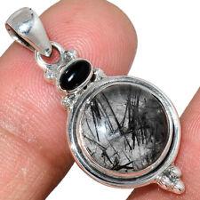 Black Tourmaline In Quartz - Shri Lanka 925 Silver Pendant Jewelry AP217211