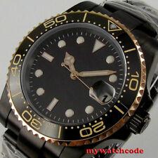 40mm bliger black dial ceramic bezel NH35A Automatic mens Watch black PVD case