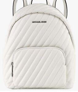 Michael Kors Erin Medium White Vega Faux Leather Quilted Backpack Bookbag $498