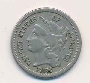 1884 3 Cent Nickel. RAW