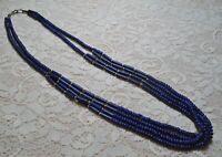 VINTAGE MULTI STRAND NAVY BLUE RESIN BEADED BOHO TRIBAL NECKLACE 27 INCH