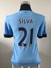 SILVA #21 Manchester City Home Football Shirt Jersey 2014/15 (S)
