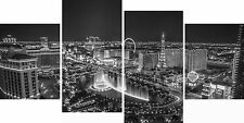 Las Vegas 4 Panel Canvas Picture Black White Night Gamble City Wall Art Print