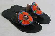 Women's African Hand Made Beaded Leather Sandals Flip Flops size 40 US 9, #177