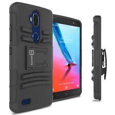 For ZTE Blade Max 3 / Max Blue Belt Clip Case Black Holster Hybrid Phone Cover
