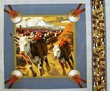Cattle on a Cattle Drive Fabric Pillow Panel