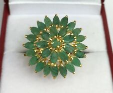 14k Solid Yellow Gold Cluster Round Ring, Natural Emerald.Sz 8.5. 4.99 Grams