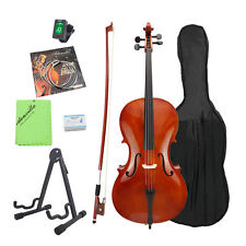 FULL SIZE 4/4 ACOUSTIC CELLO BEGINNER w/ HARD CASE, TUNER 4/4CCO-100+HC HL