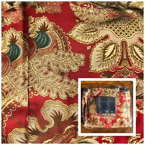 Ralph Lauren Home JARDINIERE FLORAL King Ruffle Bed Skirt Red Gold New Bedskirt