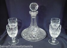 Waterford Crystal Colleen Pattern Ship's Decanter & 4 Claret Glasses