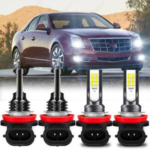 4pc H11 LED Headlight Low Beam Fog Light Bulbs for Cadillac CTS 2009-2012 2013