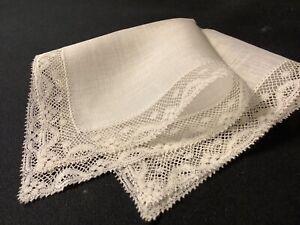 #6853🌟Tiny Antique Fine Needlelace Wedding Handkerchief Heirloom