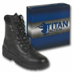 COMBAT PATROL BOOTS LEATHER BLACK SECURITY CADET OUTDOOR