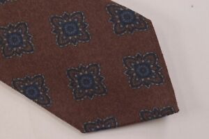 Ermenegildo Zegna NWOT Neck Tie In Brown With Blue Medallions 100% Wool