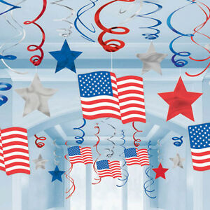 30 x USA Hanging Swirl Decorations American Stars & Stripes Party Decorations