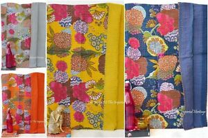 New Indian Handmade Cotton Kantha Work Twin Size Vintage Bed Cover-Blanket-Quilt