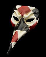 Maschera Di Venezia Nasone Lunghi Naso Carta Cartapesta Nero Rosso HT Set 22338