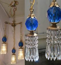 Vintage hanging Swag lamp chandelier tole brass blue Lucite Lily crystal prism