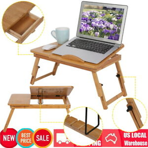 Portable Laptop Desk Bamboo Foldable Lap Tray Bed Adjustable Table Stand