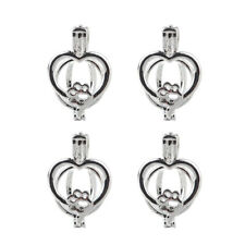 5x Silver Love Heart Dog Paw Print Pearl Cage Pendant Essential Oil Diffuser