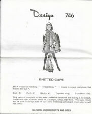 Vintage Laura Wheeler Needlecraft Womens Knitted Cape Pattern #746 in 2 Lengths