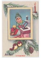 1956 Postkarte vintage FP Schnee Junge Elf Dach Kamin Geschenke Weihnachten