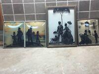 4 Vintage Convex Bubble Glass Reverse Paint Victorian Silhouette Picture Frames