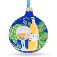 White Wine Bottle Glass Ball Christmas Ornament 3.25 Inches