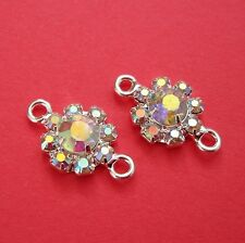 2pcs - Connector Charm Silver Brass  AB Coated Crystal Rhinestones.