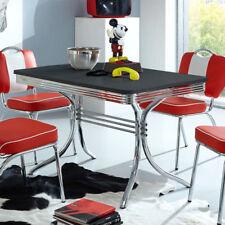 Esstisch Elvis Tisch Dinertisch Edelstahl und schwarz American Diner 50er Jahre
