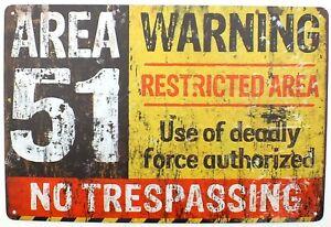 Area 51 Warning Restricted Area Tin Metal Door Wall Sign