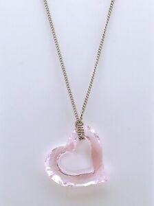 Swarovski Pink Acrylic Slide Heart Pendant Sterling Silver Necklace