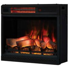 "Febo 23"" Lush Glass Electric Fireplace Insert Black with Remote 23.5"" x 20.5"""