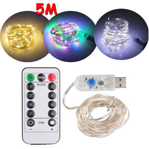 5M 50 LED USB Plug In Fairy String Light Copper Wire Christmas Party USB/Battery