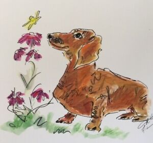 CANINE DOG ART PAINTING DACHSUND FLOWERS BUTTERFLY MIXED MEDIA 11x8.25
