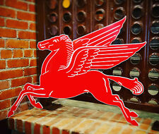"Mobilgas Mobil Gas Oil Red Pegasus Metal Steel Sign Large 38"" Vintage Garage"