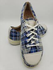 Finn Comfort Swansea Plaid Blue Walking Shoe Casual Sneaker Laceup Women Size 38