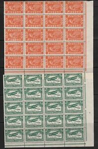 GERMANY 1919 SET OF AIRMAIL STAMPS IN MNH BLOCKS OF 20