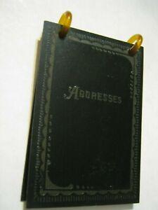 """1928 Calendar Black Plastic & Bakelite Rings 3 3/8"""" Art Deco Border ADDRESS BOOK"""