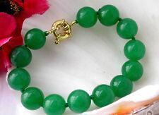 Beautiful handmade 12mm the 14k Gp Button green jade bracelet 7.5 inch