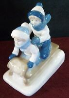 """CHILDREN ON SLED  BLUE AND WHITE EXCELLENT CONDITION 1992 PORCELAIN 6 1/2"""" X 6"""""""
