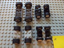Lego Minifig ~ Mixed Lot Of Wheels With Tires & Axles Set Car truck Rim/Hub #jkl
