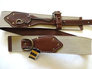 New Ralph Lauren Rugby Light Tan Khaki Canvas & Brown Leather Chain Hook Belt S