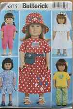 "18"" GIRL DOLL CLOTHES Butterick Sewing Pattern # 3875 American Made NEW Uncut"