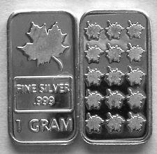 (25) 1 GRAM 0.999+ PURE SILVER MAPLE LEAF BARS 2014