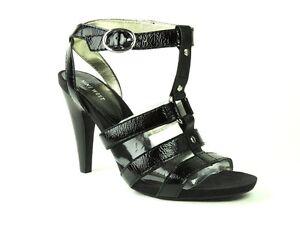 Nine West Women's Stellen Caged High Heel Sandals Black Patent Size 9.5 M