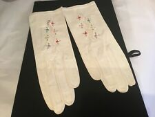 Vintage Antique New White Leather & Multi Color Needlepoint Ladies Gloves Nr (7)
